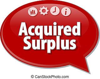 Acquired surplus Business term speech bubble illustration -...