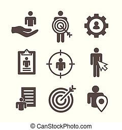 acquirente, -, bersaglio, immagine, mercato, freccia, persona, cura, icone, ingranaggio, piombi