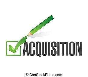 acquisition check mark illustration design over a white ...