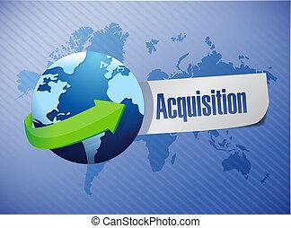 acquisition globe sign illustration design
