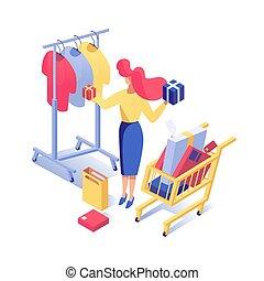 acquisti, moda, clipart., presenta, scegliere, femmina, ragazza, isometrico, boutique, carattere, isolato, 3d, shopping donna, carrello, scatole, supermercato, acquirente, acquisto, illustration., vettore, vestiti