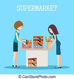 acquisti, supermercato, persone