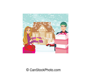acquisto christmas, giorno, nevoso