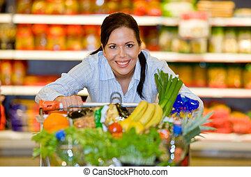 acquisto, verdura, frutta, supermercato