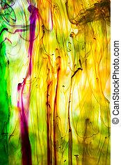 acrílico, cores, e, tinta, em, water., abstratos,...