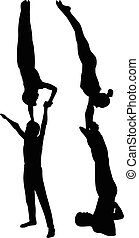 acróbatas, gimnastas