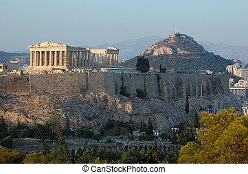 acrópole, marco famoso, em, atenas, balcãs