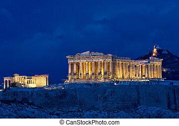 acrópole, parthenon, noturna, atenas, grécia