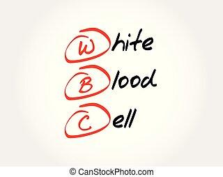 acrônimo, -, célula, wbc, branca, sangue