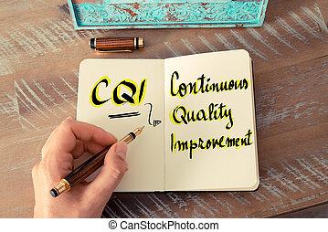 acrônimo, cqi, como, contínuo, qualidade, melhoria