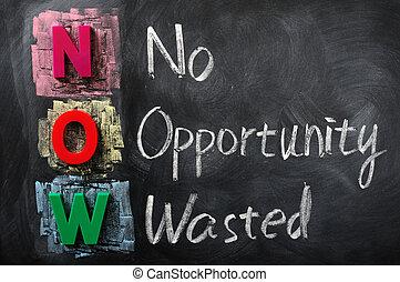 acrônimo, desperdiçado, agora, oportunidade, não