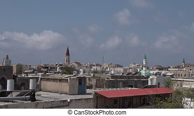 Acre Akko port cityscape Israel - Panoramic landscape view...