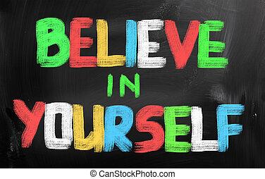 acreditar, conceito, você mesmo