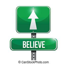 acreditar, desenho, estrada, ilustração, sinal