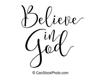 acreditar, em, deus, inscription., cartão cumprimento, com, calligraphy., mão, desenhado, desenho, elements., preto, white.