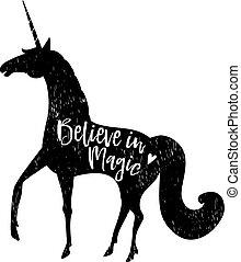 acreditar, em, magic., calligraphic, texto, com, mão, desenhado, pretas, silueta, de, unicorn., vetorial, ilustração, experiência.