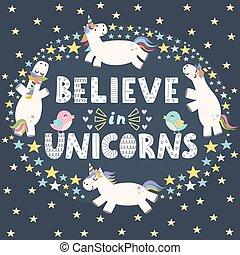 acreditar, em, unicórnios, cute, cartão