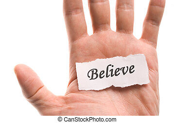 acreditar, palavra, mão
