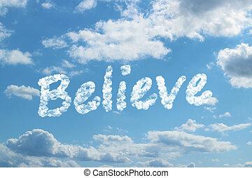 acreditar, palavra, nuvem