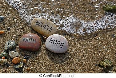 acreditar, rocks;, fé, esperança
