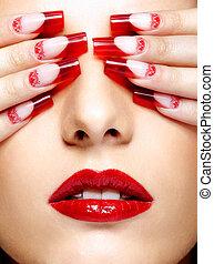 acrilico, unghia, manicure
