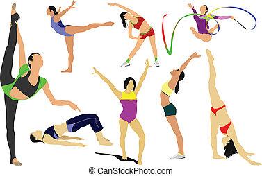 acrobático, acción, artístico, athle