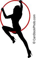 acrobático, branca, aro, elementos, fundo, algum, silueta, aéreo, mulher