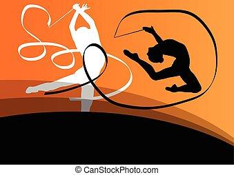 acrobacia, voando, jovem, silhuetas, ginastas, ativo,...