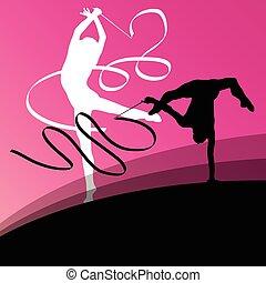 acrobacia, vuelo, joven, siluetas, gimnastas, activo, niña, ...