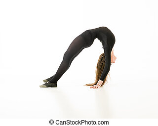 acrobat girl - young girl doing gymnastics bridge isolated...
