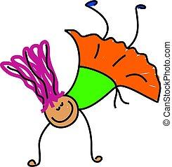 acrobat kid - little girl trying to do a cartwheel - toddler...