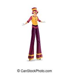 Acrobat on stilts isolated vector clown artist