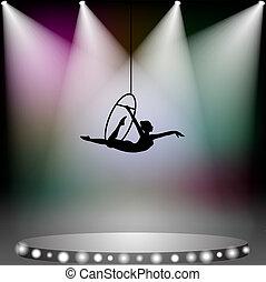 acrobata, donna, su, circo