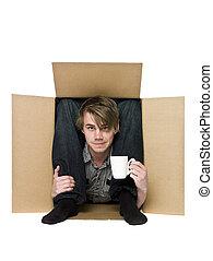 acrobata, interior, um, papelão, box.