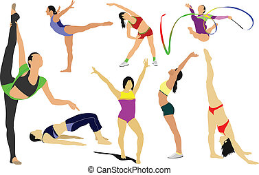 acrobatic, action, artistic, athlete, athletic, balance, body, champion, collection, competition, dance, event, exercise, floor, girl, gymnastic, high, horse, illustration, isolated, jump, lifestyle, muscle, people, silhouette, sport, strong, training, uneven, vector, win, woman, workout, free ...