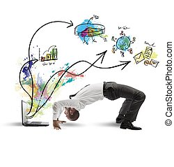 Acrobatic businessman - Concept of acrobatic business with...