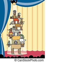 Acrobatic Pets_Stage Right - Vector illustration of...