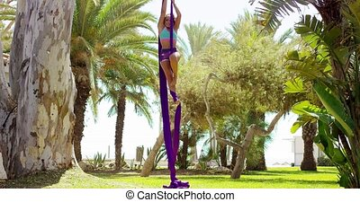 Acrobatic young woman doing an exotic dance performance...