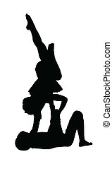 acrobatico, ginnastica, ragazzo, equilibratura, ragazza,...