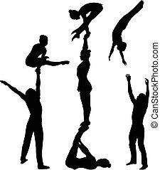 acrobatico, stunt., ginnasti, acrobati, vettore, nero,...
