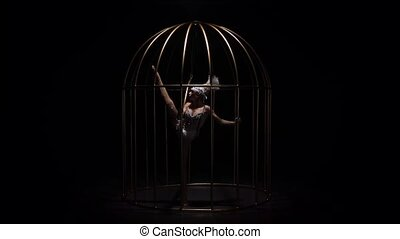 Acrobatics aerial on a rotating hoop in a cage room. Black...