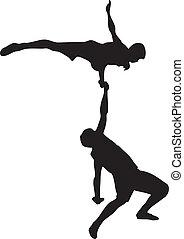 Acrobatics - Performance of two acrobats. Contour vector...