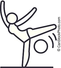 Acrobatics line icon concept. Acrobatics vector linear illustration, symbol, sign