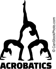 Acrobatics silhouette with word