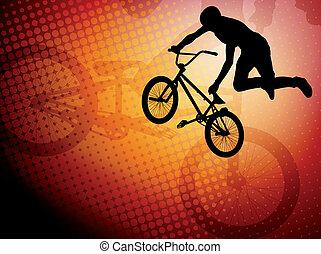 acrobatie, bmx, cycliste