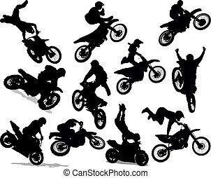 acrobatie, ensemble, silhouette, motocyclette