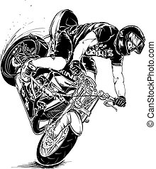 acrobatie, motocyclette, homme