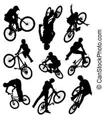 acrobatie, silhouettes, vélo