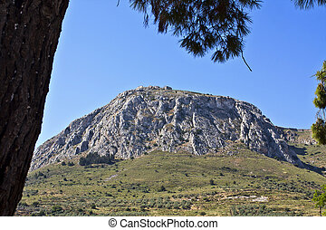 Acrocorinth fortified mountain at Peloponnesus, Greece