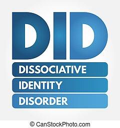 acroniem, -, identiteit, stoornis, dissociative, did